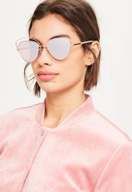 Verspiegelte Cat-Eye Sonnenbrille im Katzenaugen Metall Rahmen in Rosé-Gold