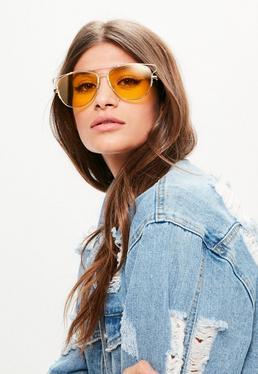 Yellow Metal Frame Aviator Sunglasses