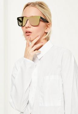 Gold Flat Mirror Lens Sunglasses
