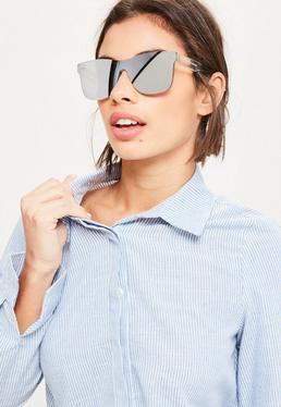 Silver Flat Lenses Mirror Sunglasses