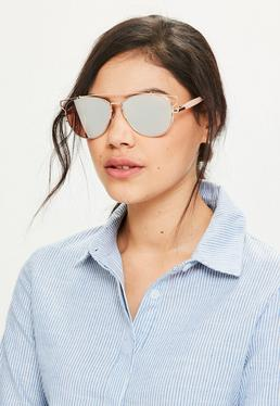 Rose Gold Metal Frame Aviator Sunglasses