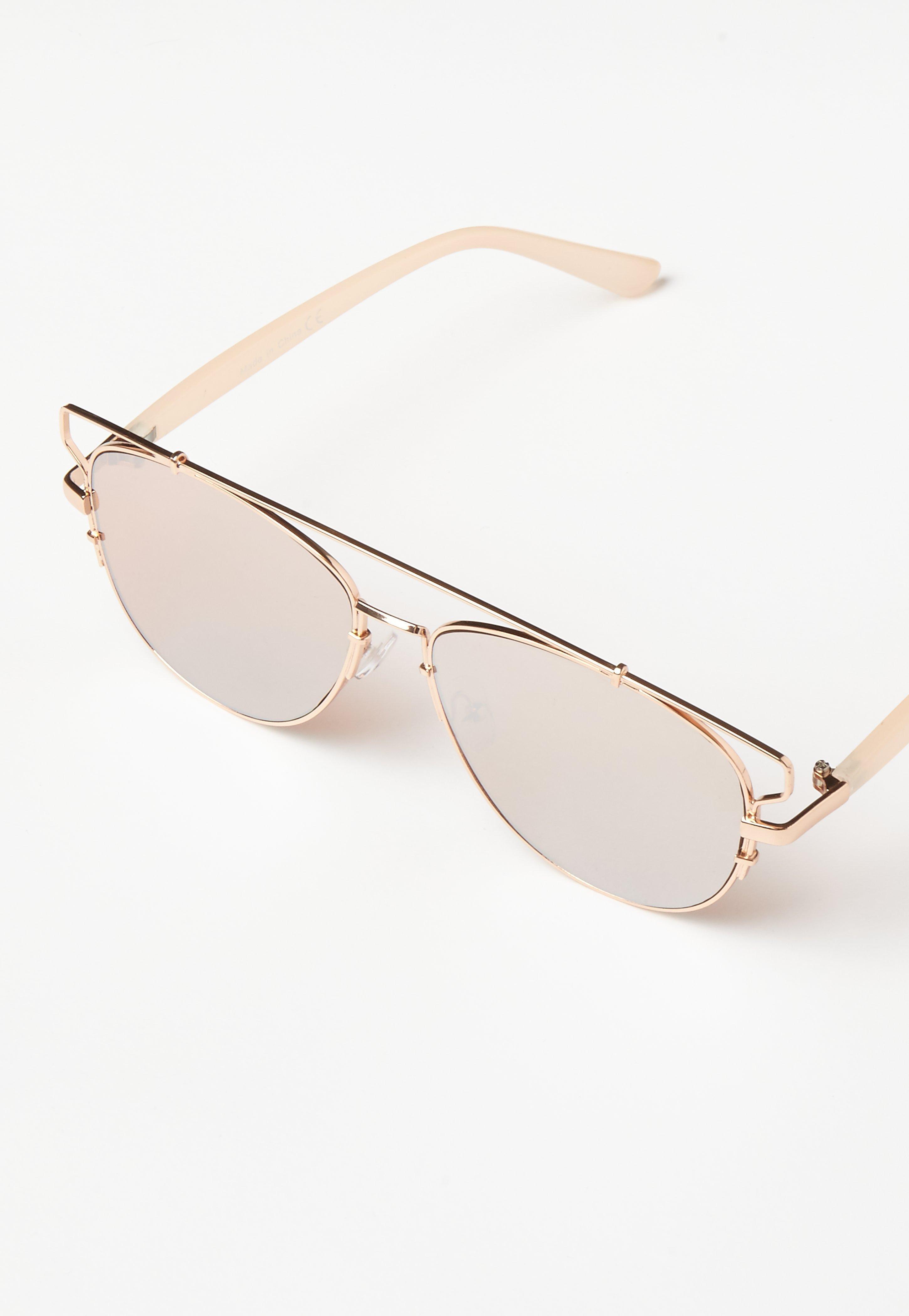 Rose Gold Metal Frame Aviator Sunglasses - Missguided