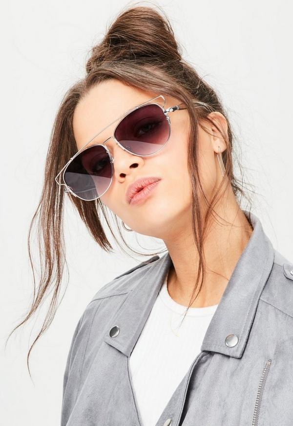 silver aviator sunglasses  Silver Metal Frame Aviator Sunglasses - Missguided