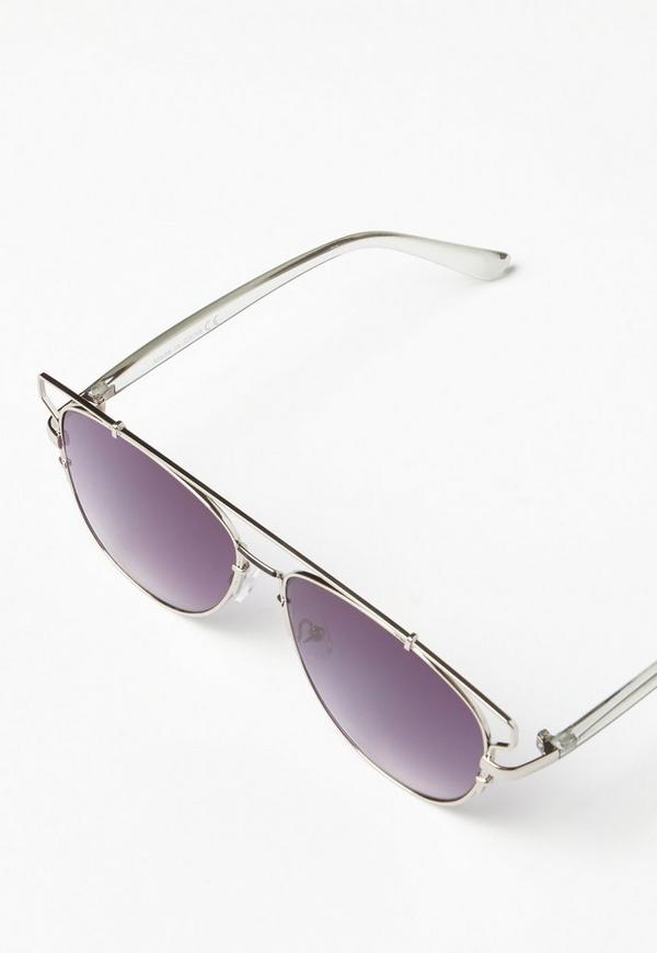metal aviator sunglasses  Silver Metal Frame Aviator Sunglasses - Missguided