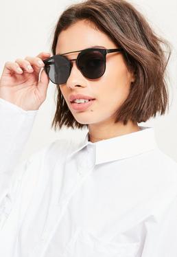 Black Round Metal Bar Sunglasses
