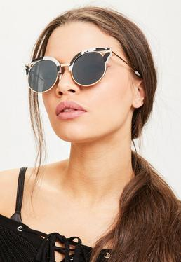 Schwarze Monochrom Cut-Out Sonnenbrille