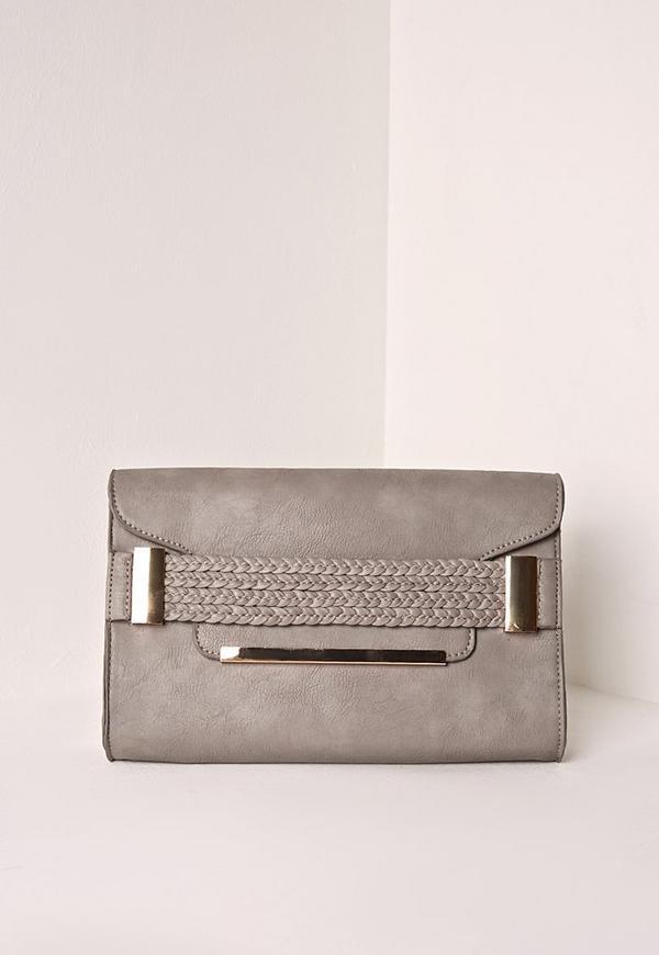 Plait Front Clutch Bag Grey