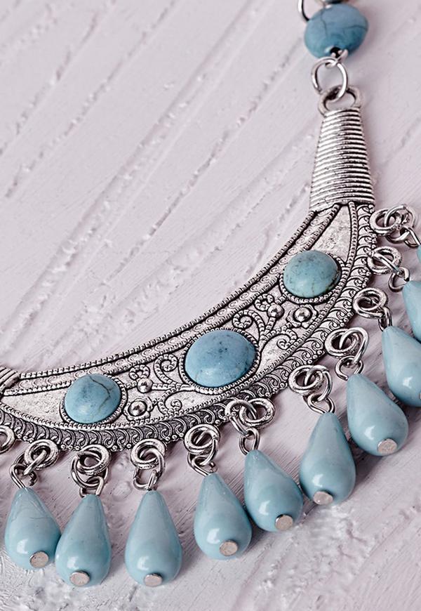 Semi-Precious Stone Drop Necklace Silver