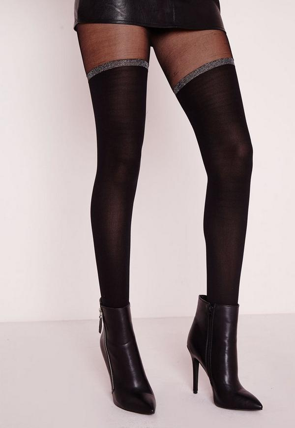 Glitter Band Over the Knee Tights Black
