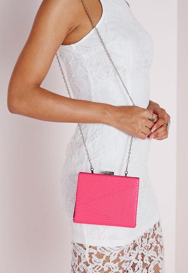 Woven Stitch Detail Box Clutch Neon Pink