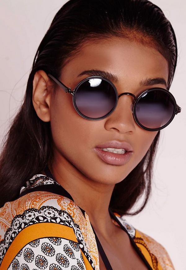 Black Frame Lens Round Sunglasses