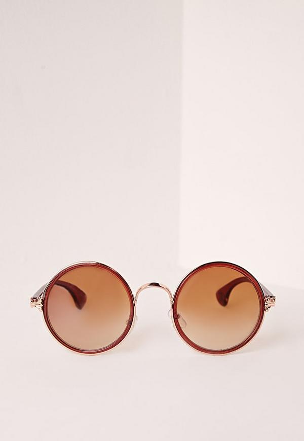 Circle Frame Tortoise Shell Sunglasses Brown