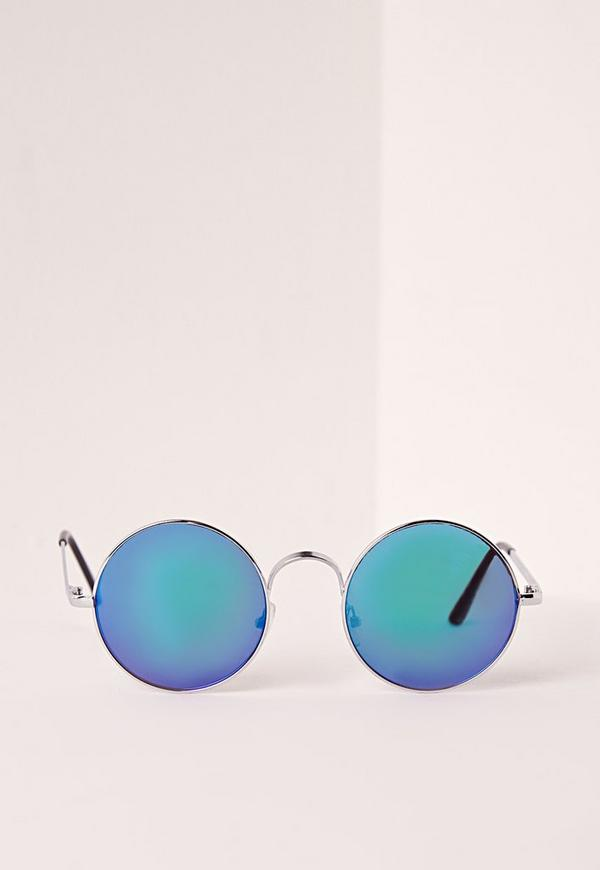 Silver Frame Round Mirrored Sunglasses Blue