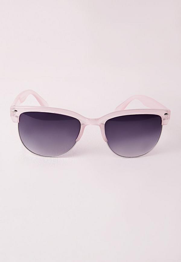Retro Transparent Pink Half Frame Wayfarer Sunglasses