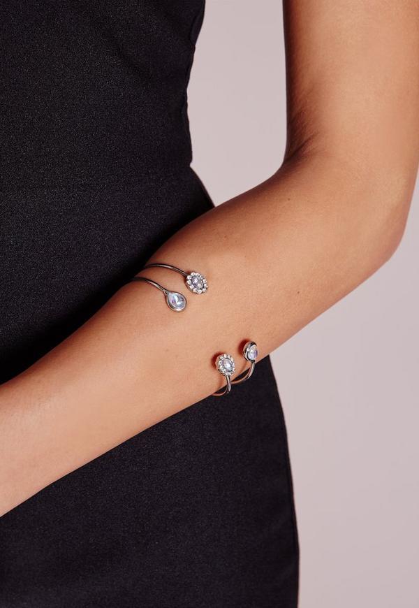 Dainty Jewel Bangle Set Silver