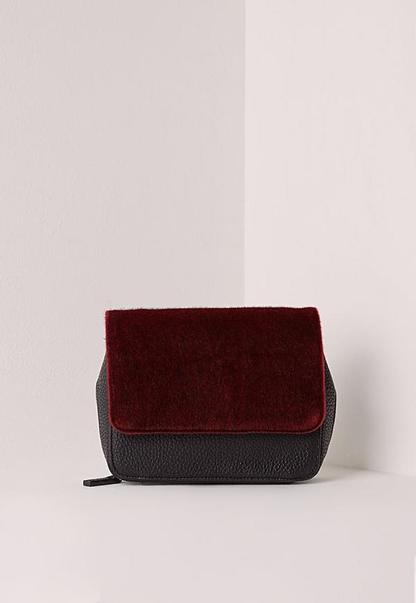 Faux Fur Shoulder Bag Black