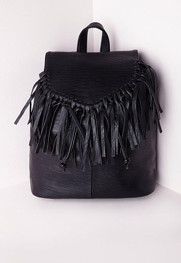 Tassel Trim Classic Backpack Black