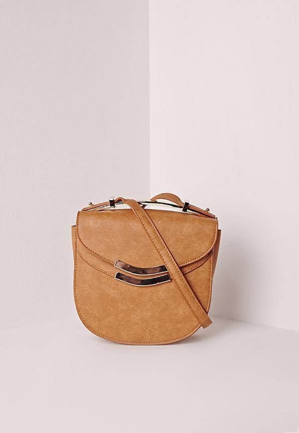 Metal Top Saddle Bag Tan