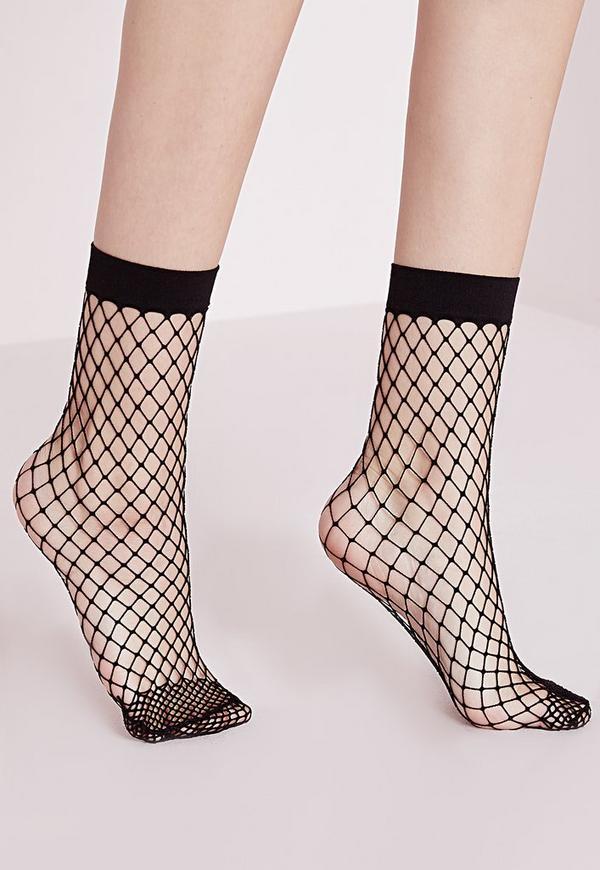 Oversized Fishnet Ankle Socks Black