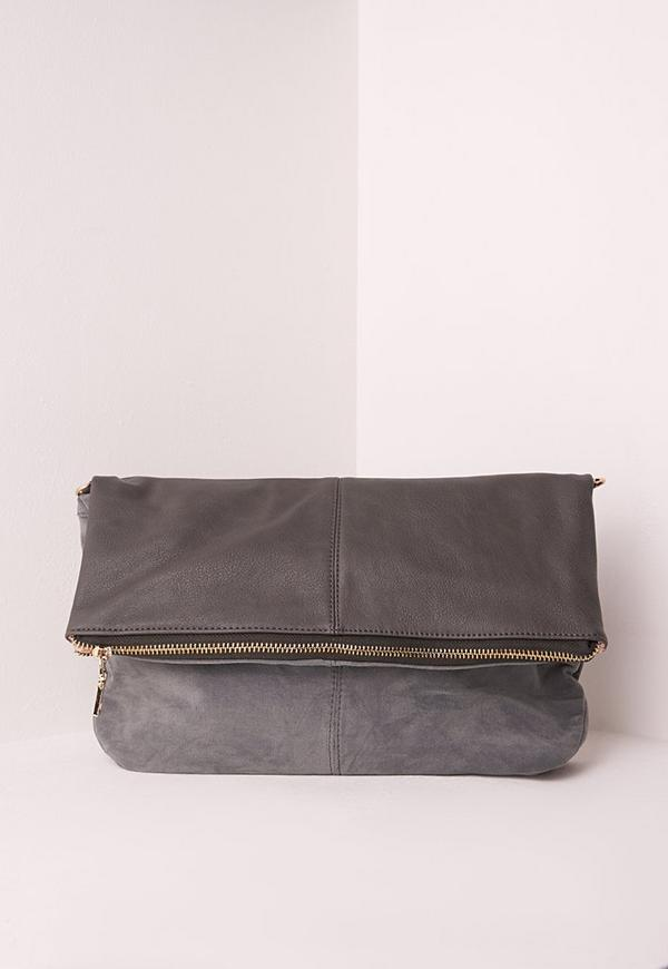 Fold Over Bag Grey