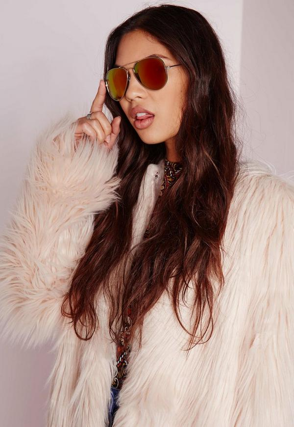 Aviator Mirrored Sunglasses Yellow