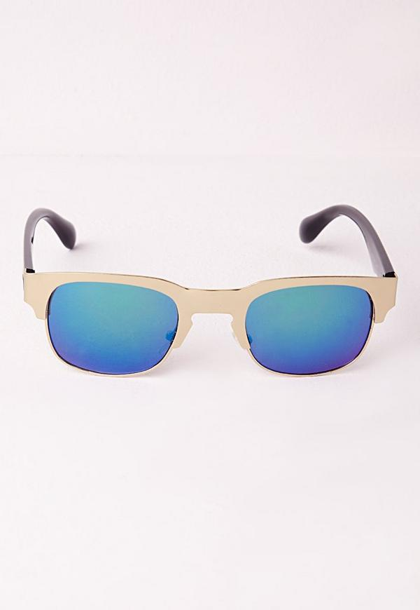 Metal Frame Mirrored Sunglasses Blue