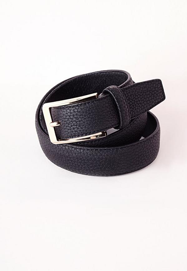 Gold Buckle Wide Belt Black