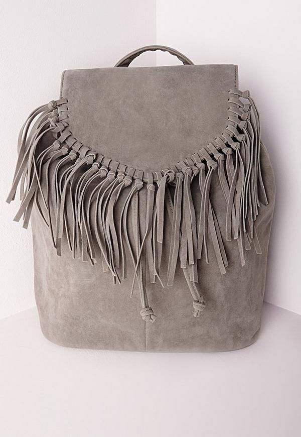 Tassel Trim Backpack Grey