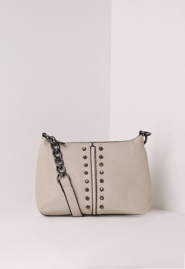 Mini Studded Crossbody Bag Grey