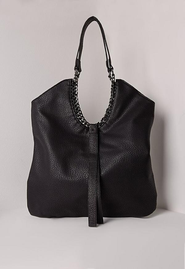 Chain Edge Slouch Bag Black