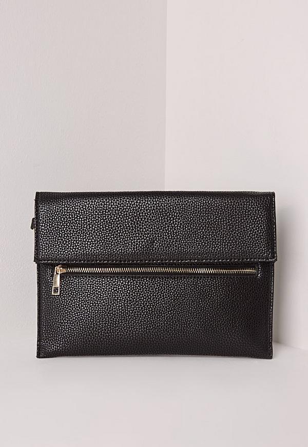 Zip Detail Clutch Bag Black