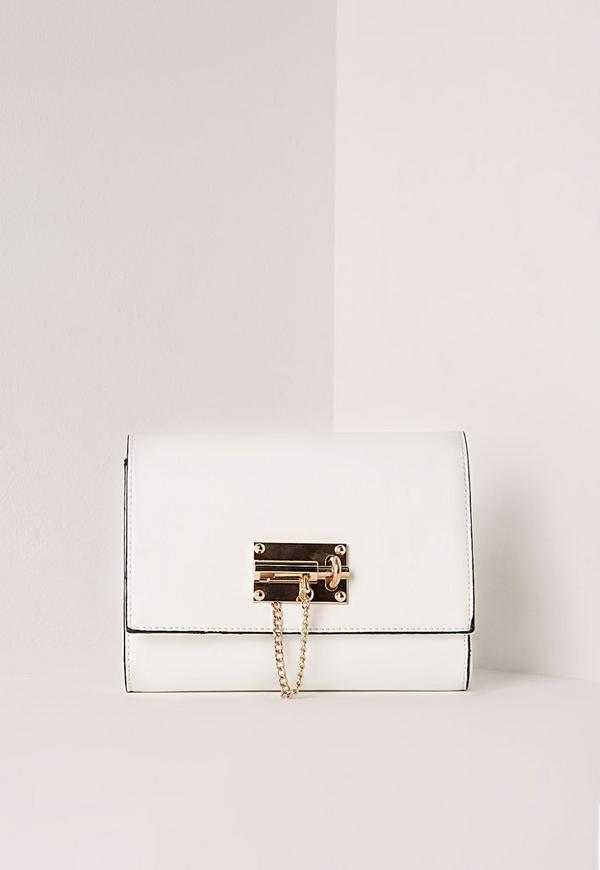 Lock Detail Clutch Bag White