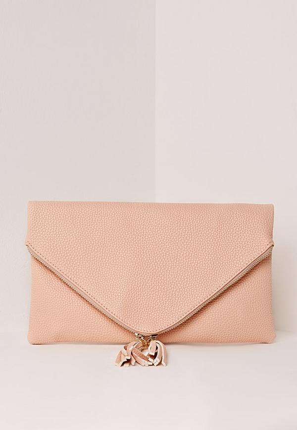 Double Tassel Zipped Envelope Clutch Nude