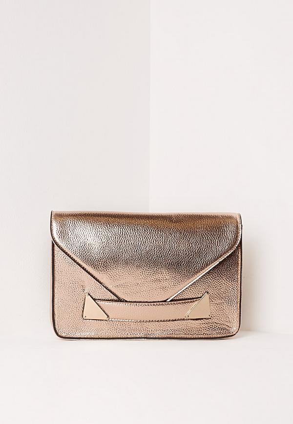 Envelope Detail Clutch Bag Rose Gold