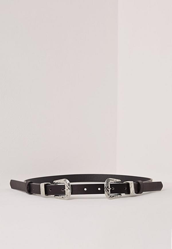 Double Buckle Skinny Belt Black