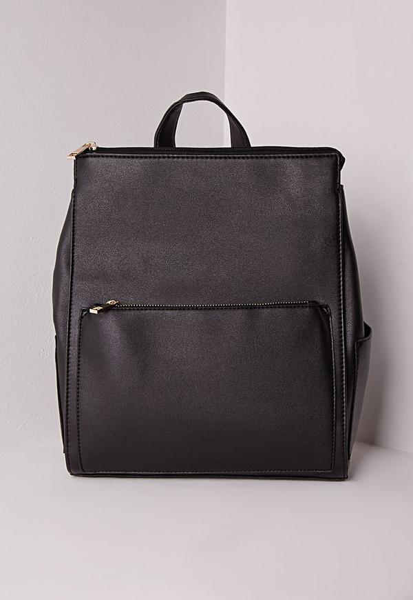 Faux Leather Rucksack Black