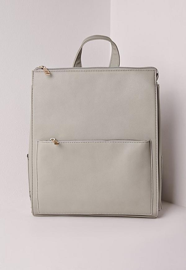 Faux Leather Rucksack Grey