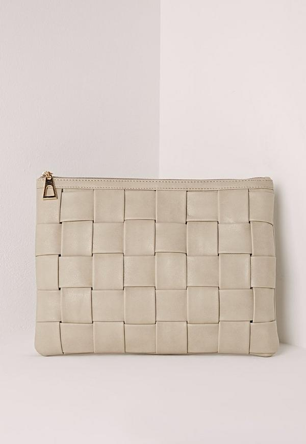 Oversize Twil Weave Suedette Clutch Nude