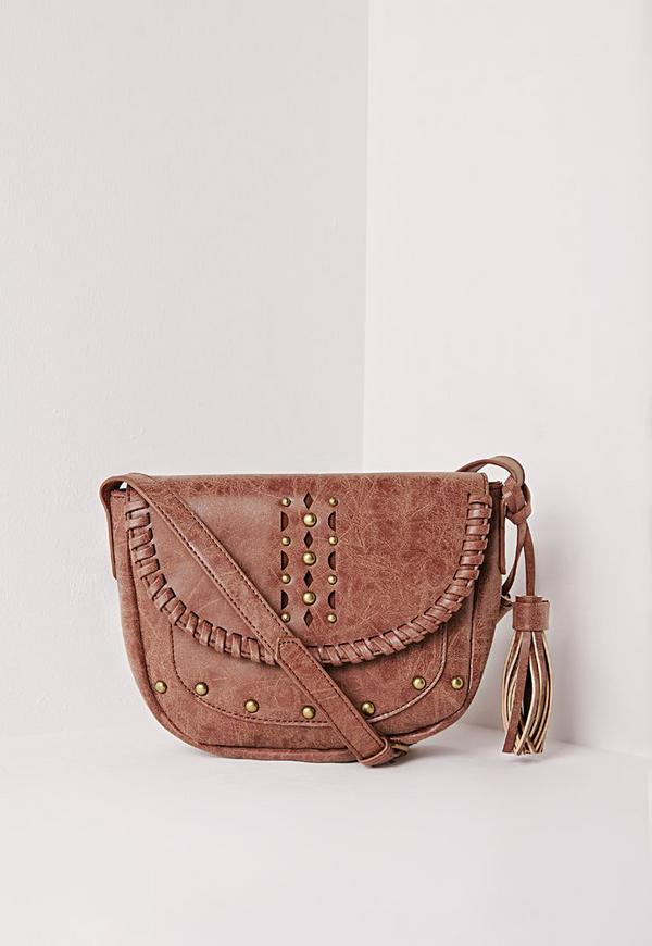 Studded Tassel Saddle Bag Tan