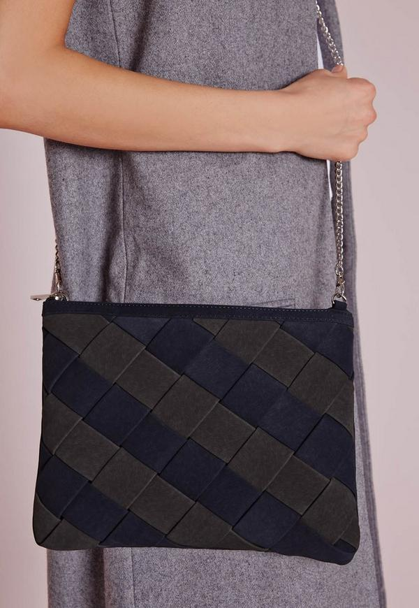 Colour Block Woven Clutch Navy