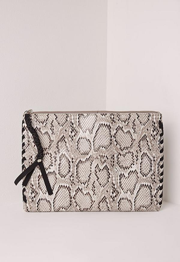 Snake Print Clutch Bag Grey