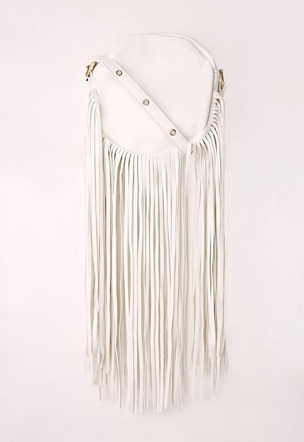 Long Tassel Circle Bag White