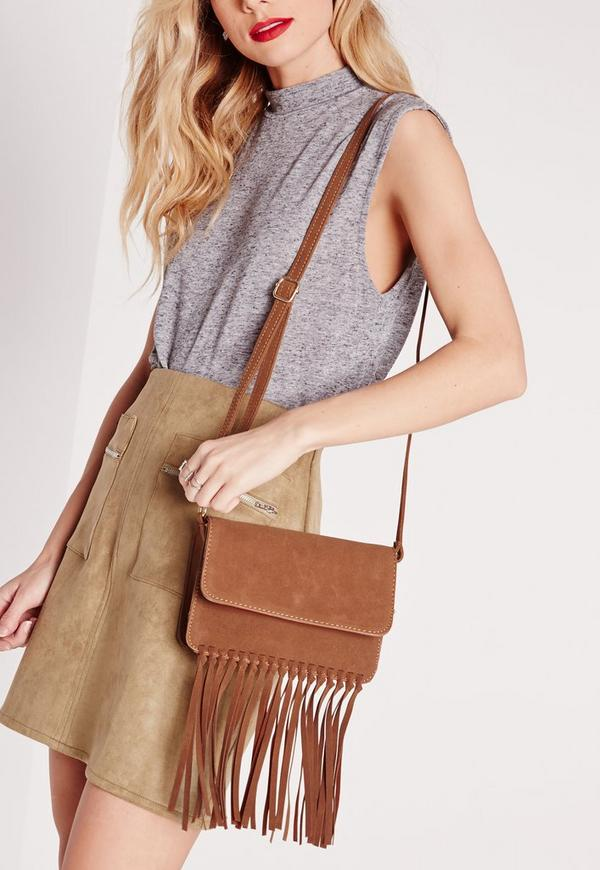 Suedette Knotted Tassel Bag Tan
