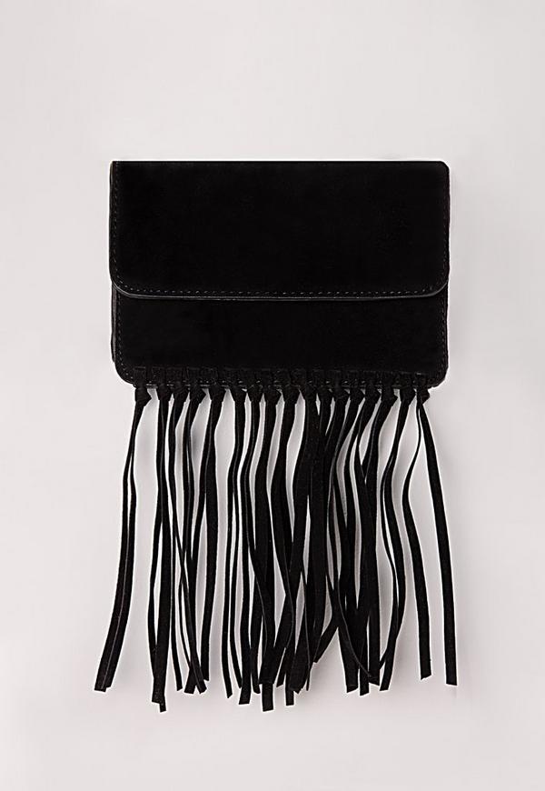 Suedette Knotted Tassel Bag Black