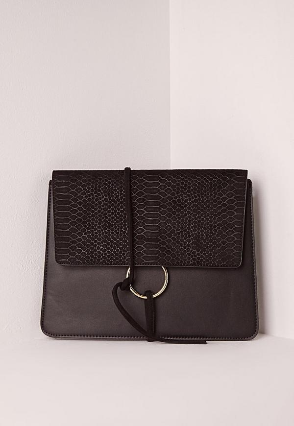 Thread Through Clutch Bag Black
