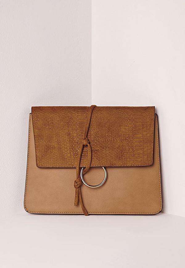 Thread Through Clutch Bag Tan