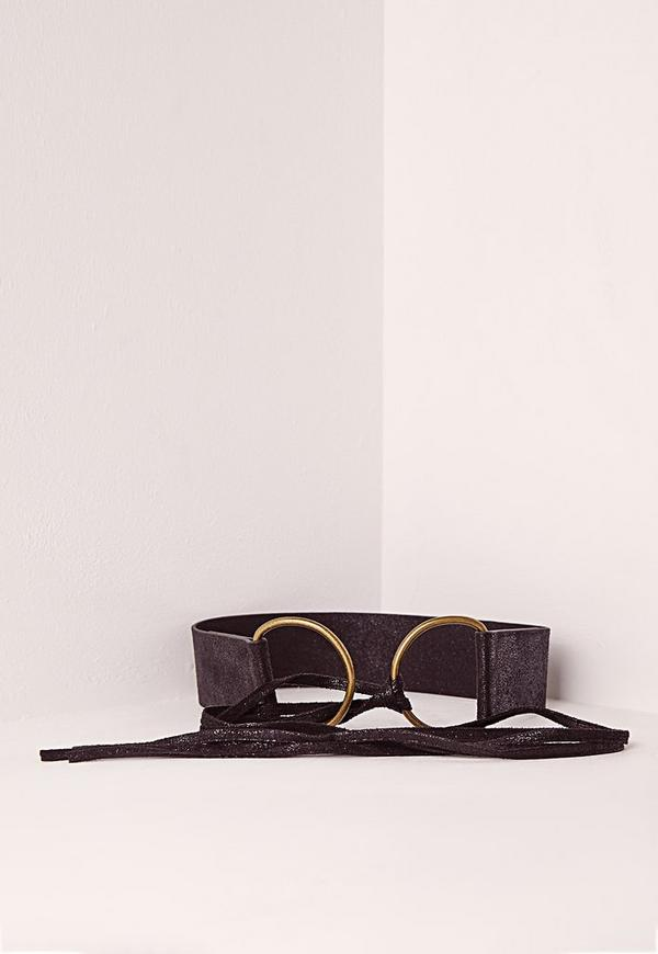 Double Ring Tie Belt Black