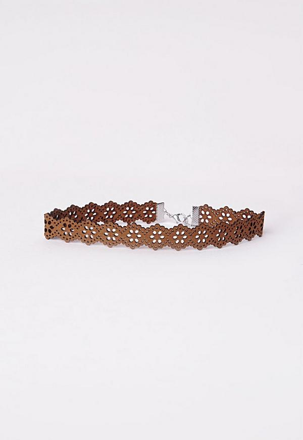 Lazer Cut Choker Tan