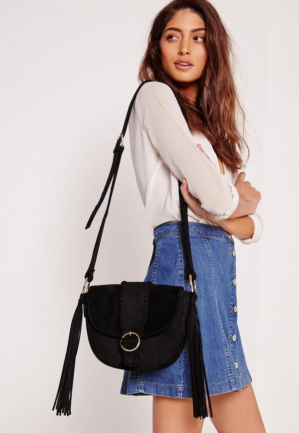 Buckle Fastening Shoulder Bag Black