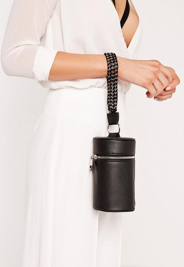 Chain Handle Cylinder Clutch Bag Black